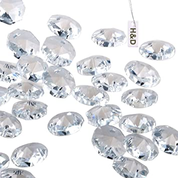 Amazon.com : H&D 50pcs 18mm Clear Crystal 2 Hole Octagon Beads ...