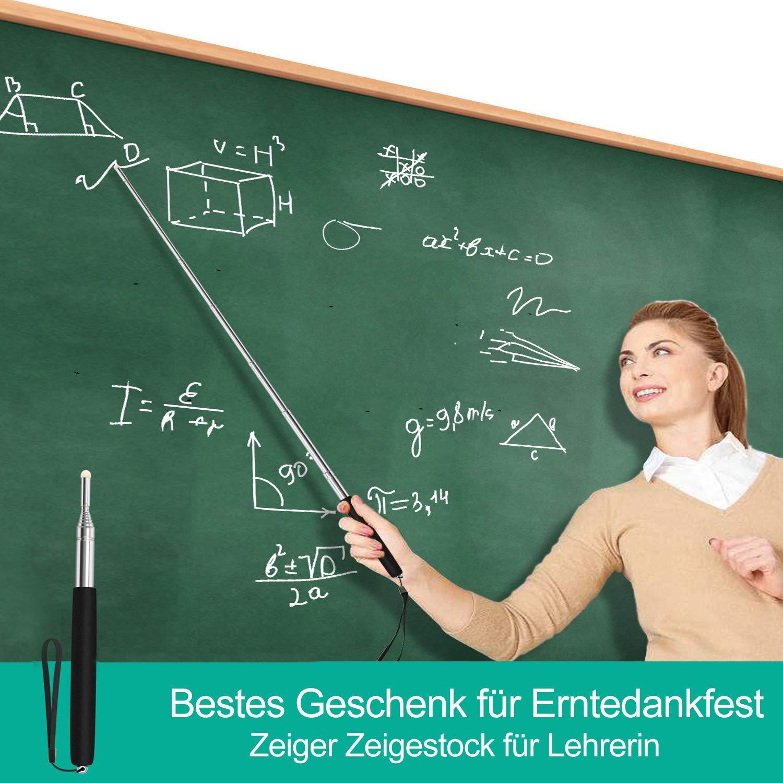 Schwarz Zeigestab Ausziehbar 1m Teleskopstab für Lehrer Whiteboard Tafel