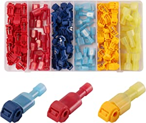 Kinstecks 120PCS T-Tap Wire Connectors Self-Stripping Quick Splice Wire Terminals Insulated Male Quick Disconnect Spade Terminals Assortment Kit for Electrical Motorcycle Car Home