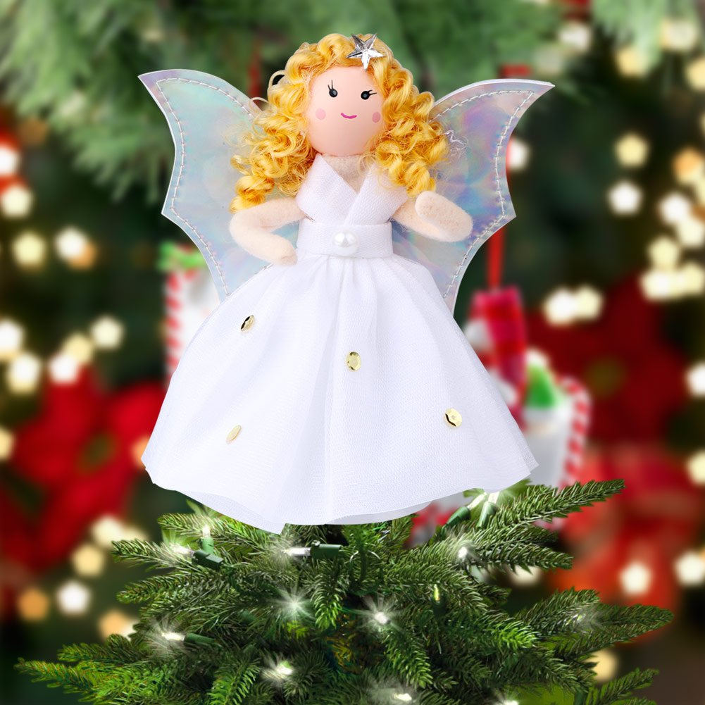 OurWarm Mini Angel Christmas Tree Topper Little 7 Inch Small Remembrance Angel Figure for Mini Christmas Trees Ornament Shiny Angel Silver Wings White Dress Home Decorations Xmas Party Gift 1S-SDX-TS-1