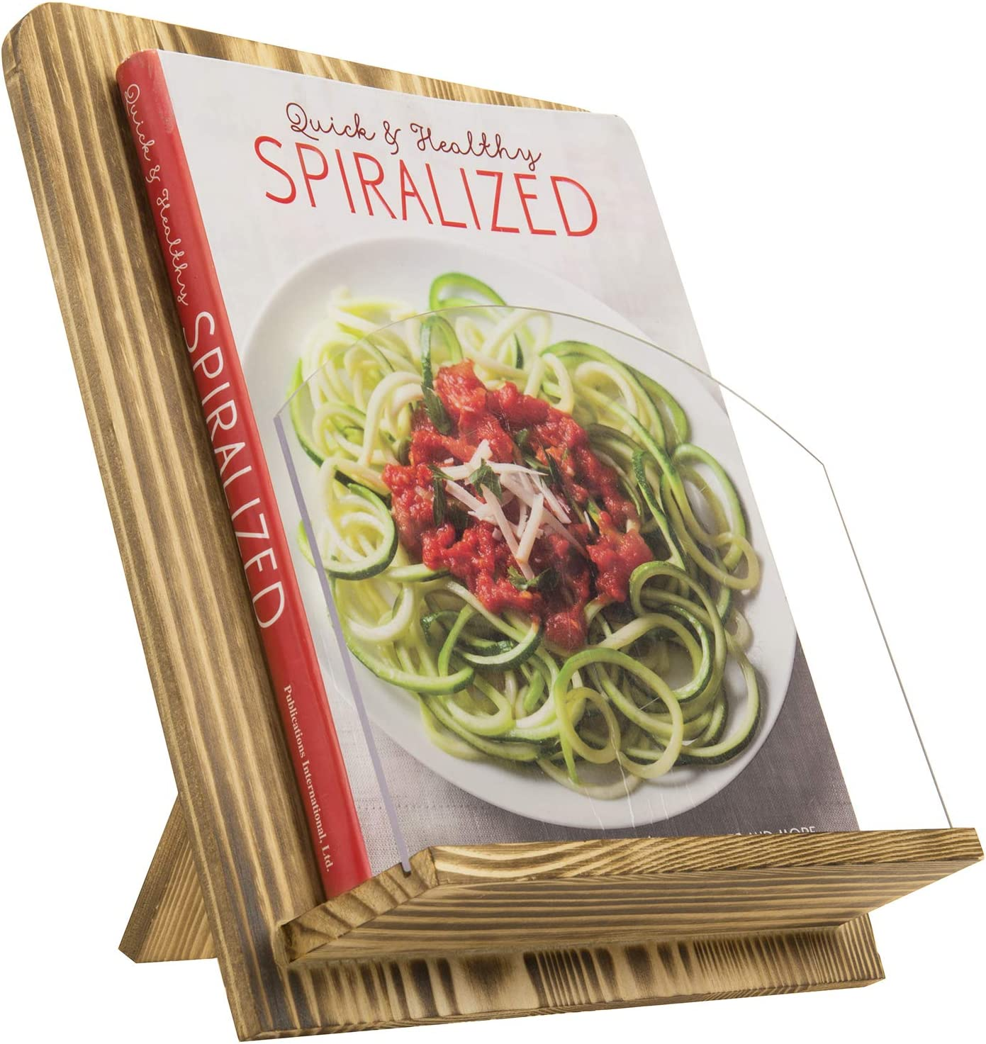 MyGift Rustic Burnt Brown Wood Kitchen Cookbook Stand with Kickstand and Clear Acrylic Page Holder