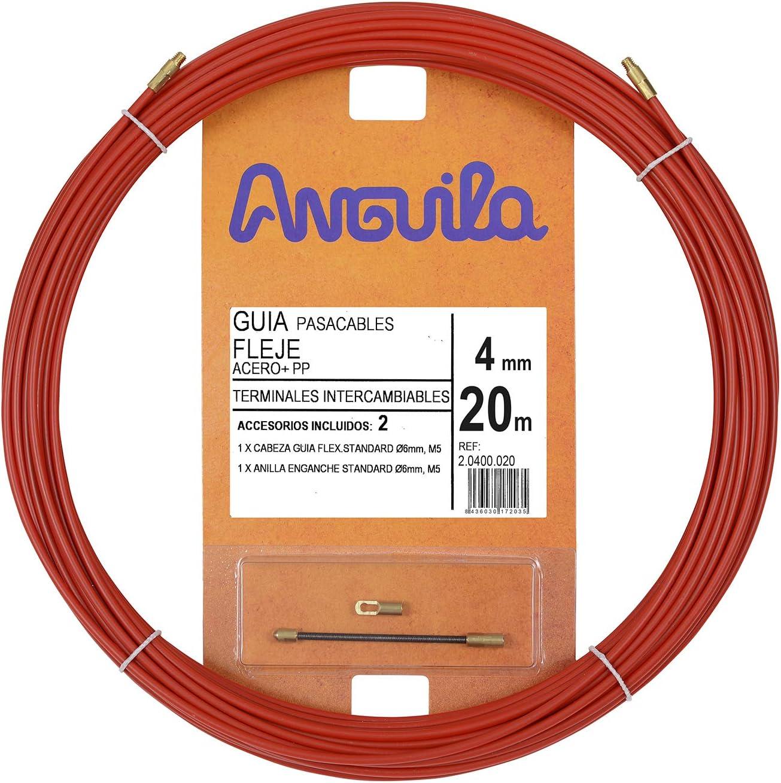 Anguila 20400020 Guía pasacables Fleje de Acero + Polipropileno, Rojo, 20 Metros