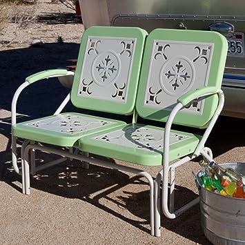 Vintage Metal Patio Chairs Amazon Com Coral Coast Paradise Cove Retro Metal  Outdoor Glider