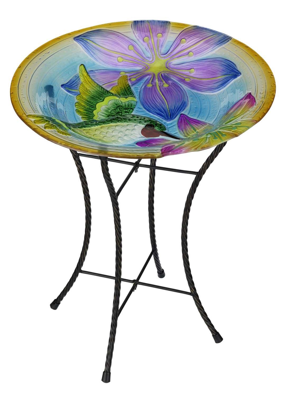 Regal Art & Gift Hummingbird Glow Birdbath, 18''