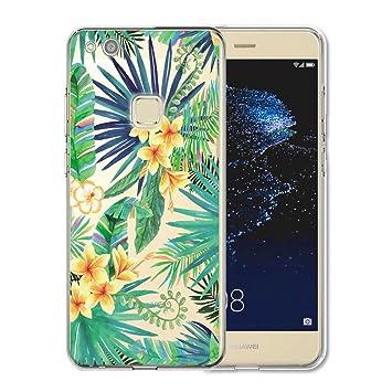 Huawei P10 Lite Funda , IJIA Ultrafino Transparente Hojas Verdes Flores TPU Silicona Suave Cover Tapa Caso Parachoques Carcasa Cubierta para Huawei ...