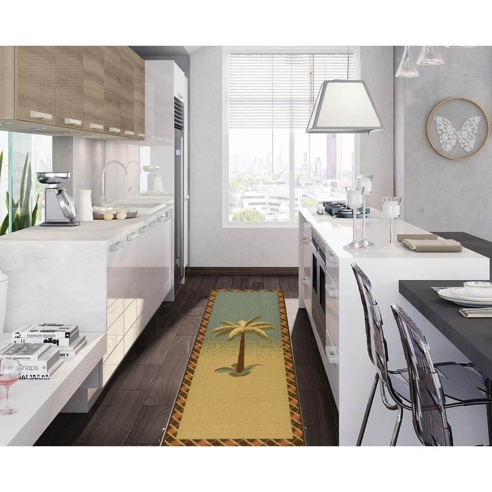 amazon com ottomanson sara u0027s kitchen tropical palm tree design