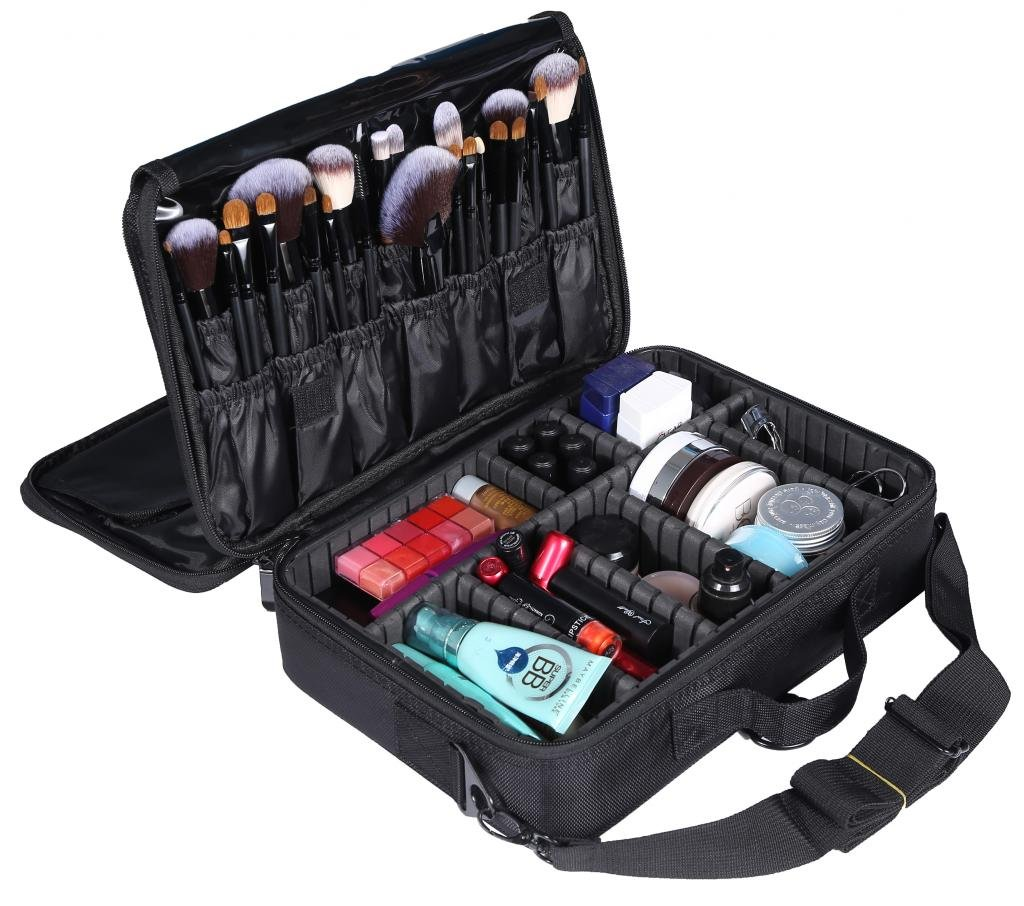 LOUISE MAELYS 3 Layers Makeup Artist Travel Makeup Train Case Cosmetic Bag Shoulder Bag-Removable Dividers, Large Space