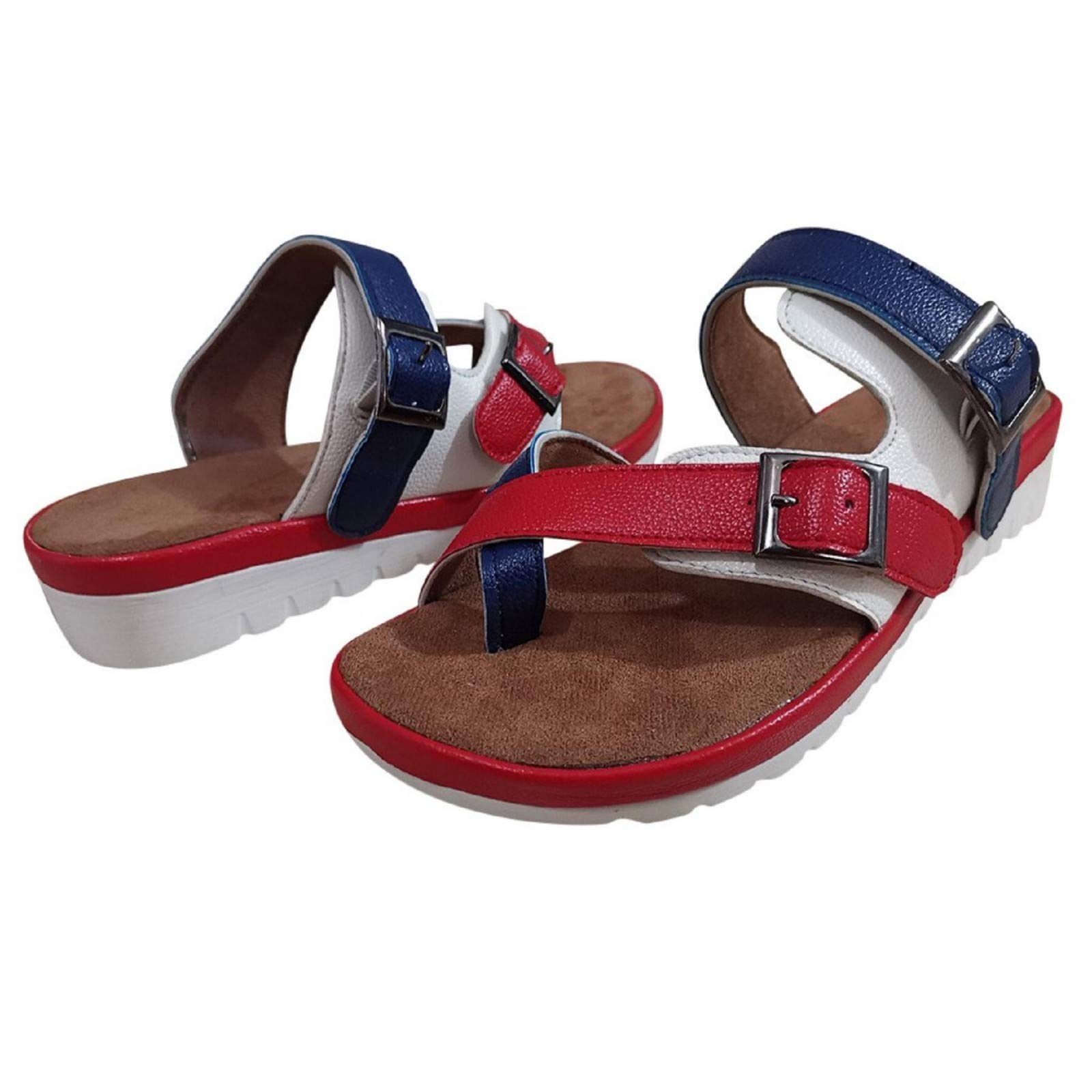 Women's Flat Casual Home Walking Sandals, Comfortable Cork Comfy Platform Summer Beach Water Slippers Flip Flops Red
