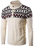 jeansian Men's Snowflake X-Mas Cardigan Long Sleeve Button Down Knit Sweater Winterwear Jumper 88G4