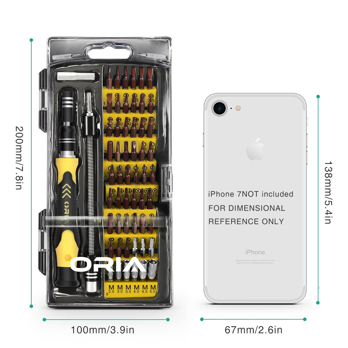 ORIA 64 in 1 Precision Screwdriver Set with 56 Bits, S2 Steel Magnetic Driver Kit, Professional Electronics Repair Tool Kit for Smartphone, Cell Phone, Computer, PS4, Tablet and Electronics Devices by ORIA (Image #8)