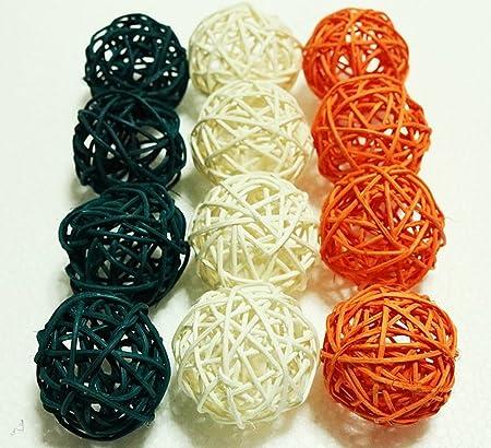 Decorative Spheres Green White Orange Rattan Mediumsized Vase Gorgeous Decorative Balls For Bowls Green