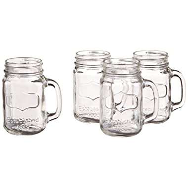 Circleware 66911 Yorkshire Mason Jar Mugs with Glass Handles, Set of 4, 17.5 Ounce, Clear