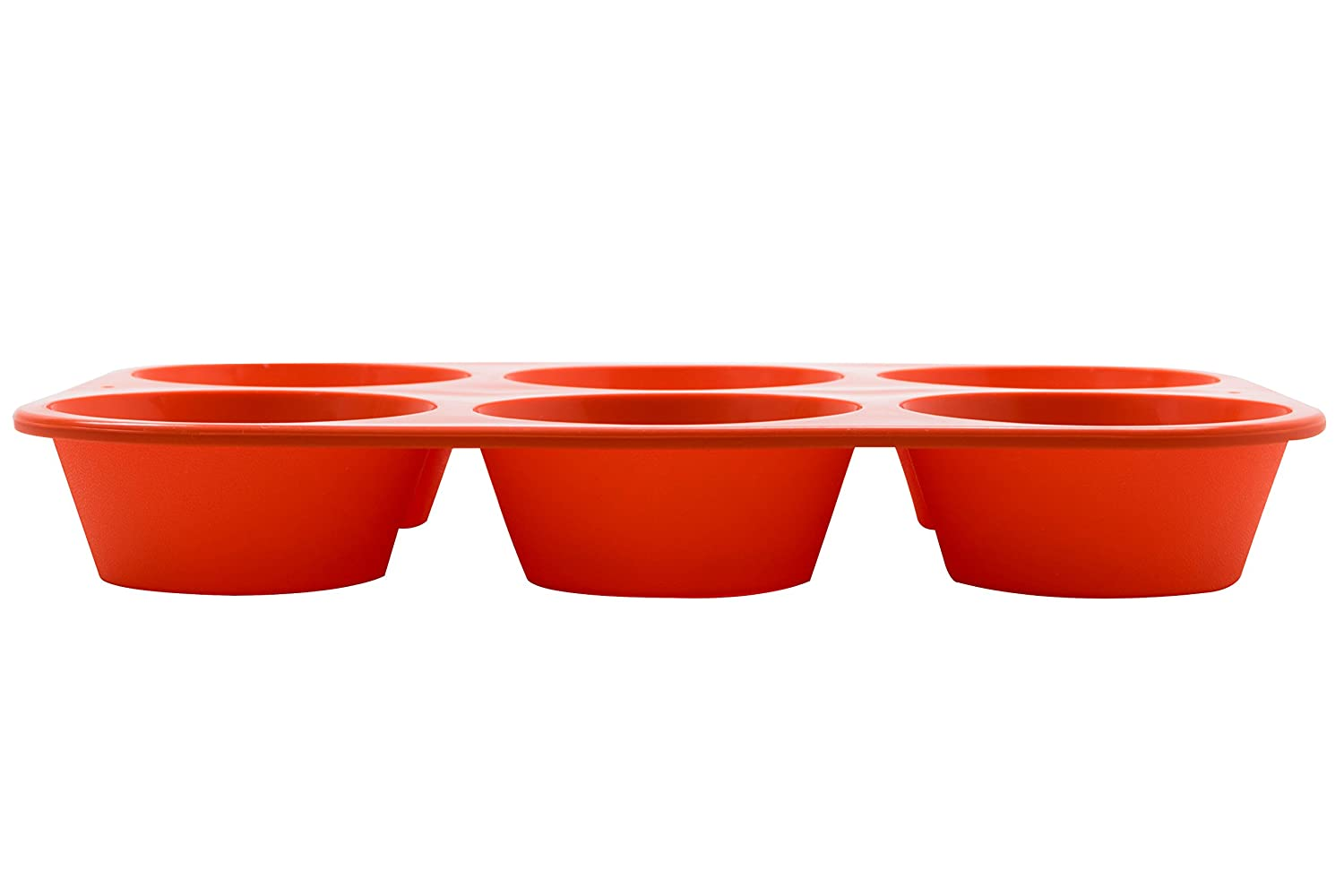 Color-Red SKU-KW200010RD Marathon Premium Silicone 6 Cup Standard Size Muffin Pan
