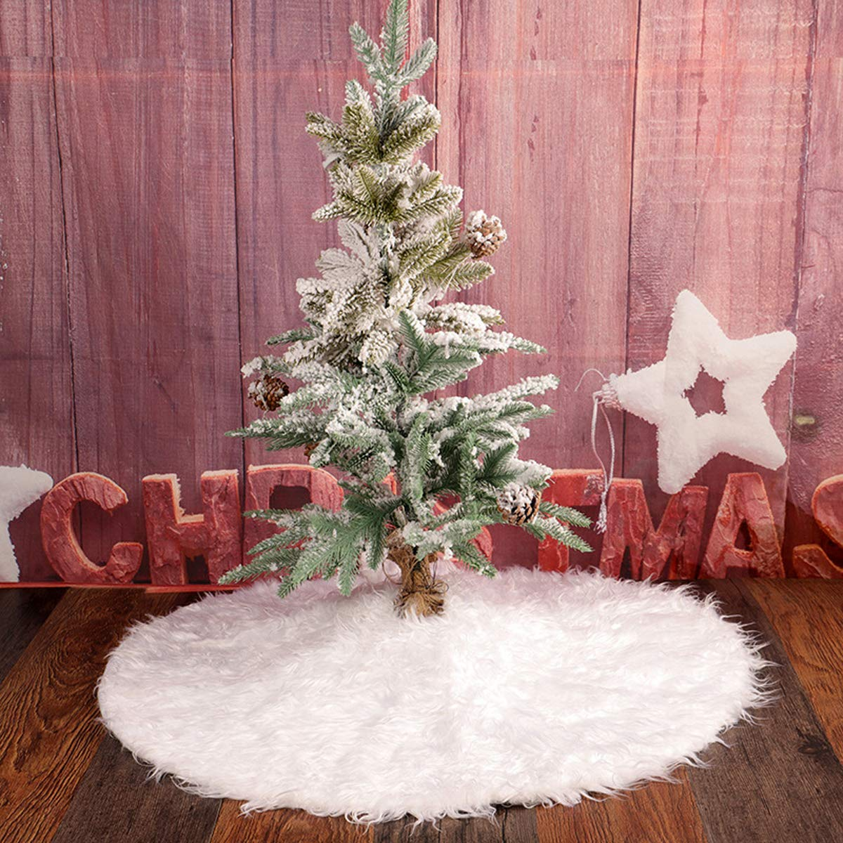 Christmas Tree Skirt White Tree Bottom Cover (48'' Diamete)