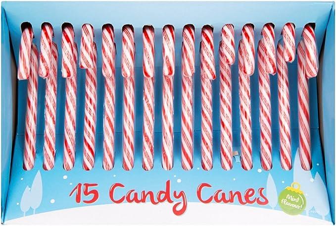 Bastones de caramelo Invero® para decorar el árbol de Navidad, en caja, ideal como regalo, para niños y adultos, 15x Pack