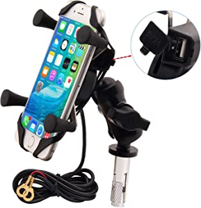 Motorcycles Phone Mount with Charger Grip Mobile Phone Holder GPS Navigation Bracket for BMW S1000RR Suzuki GSX 1300R Hayabusa GSX-R 600 750 1000 Yamaha YZF Kawasaki Ninja Honda CBR New