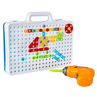 YOFAN DIRECT Drill & Play Creative Educational Toy with Real Toy Drill - Mosaic Design Building Toys Tool Kit: Toys & Games