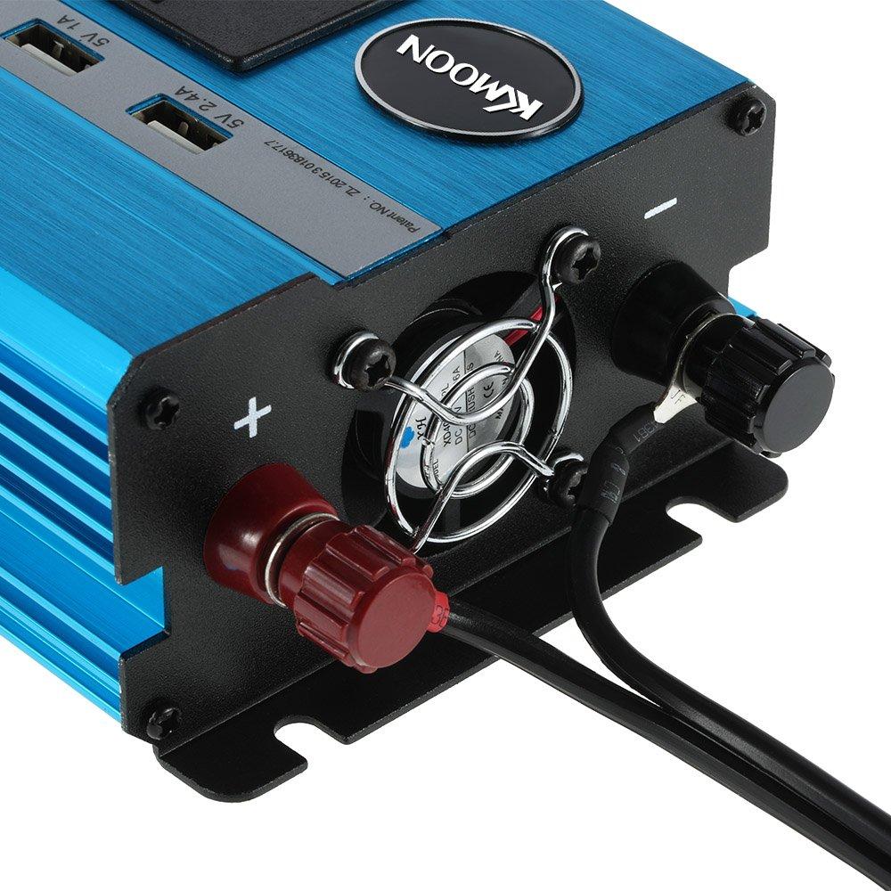 DC 12V a AC 220V KKmoon 500W Inversor de Corriente para Coche 50Hz con 4 Puertos USB 2 Enchufe AC Carga para M/óvil PC Tableta