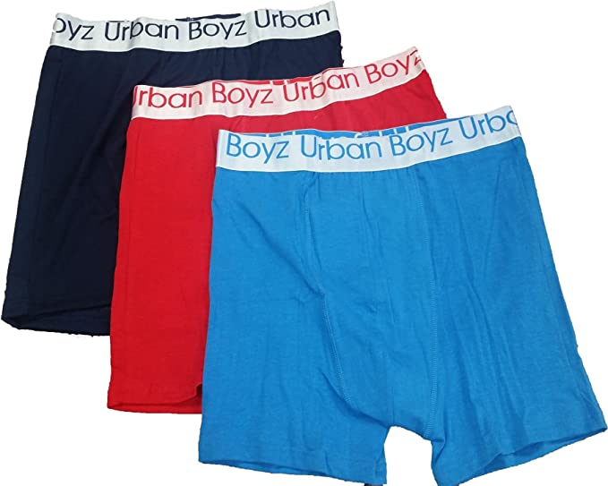 5a51e623af71 Urban Boyz Men's Designer Stripe 3 Pack Stretch Boxer Shorts Underwear  Trunks Small Red/Navy