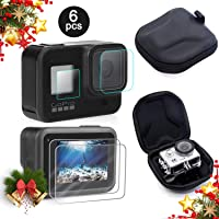 iDream Screen Protector for GoPro Hero 8 + Small Hard Shell Carrying Case Accessory Bundles, [2 Packs] Lens & Screen & Display Tempered Glass Screen Protector Film + EVA Travel Case Storage Bag