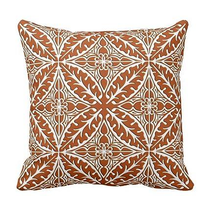 Amazon Emvency Throw Pillow Cover Retro Ceramic Moroccan Tiles Stunning Terracotta Decorative Pillows