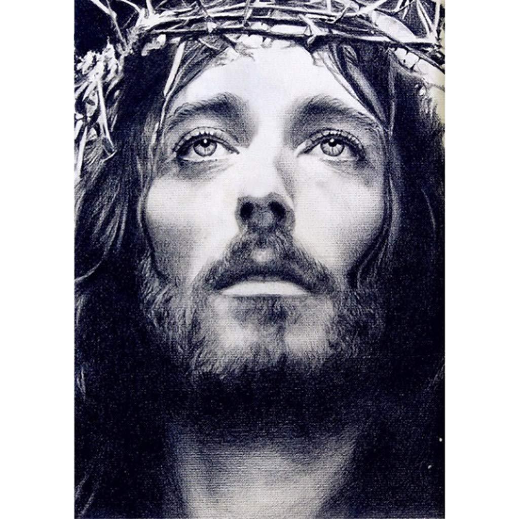 Lovewe Easter Jesus Painting, Christian Religion Embroidery Paintings Rhinestone Pasted DIY Diamond Painting Cross Stitch (B)