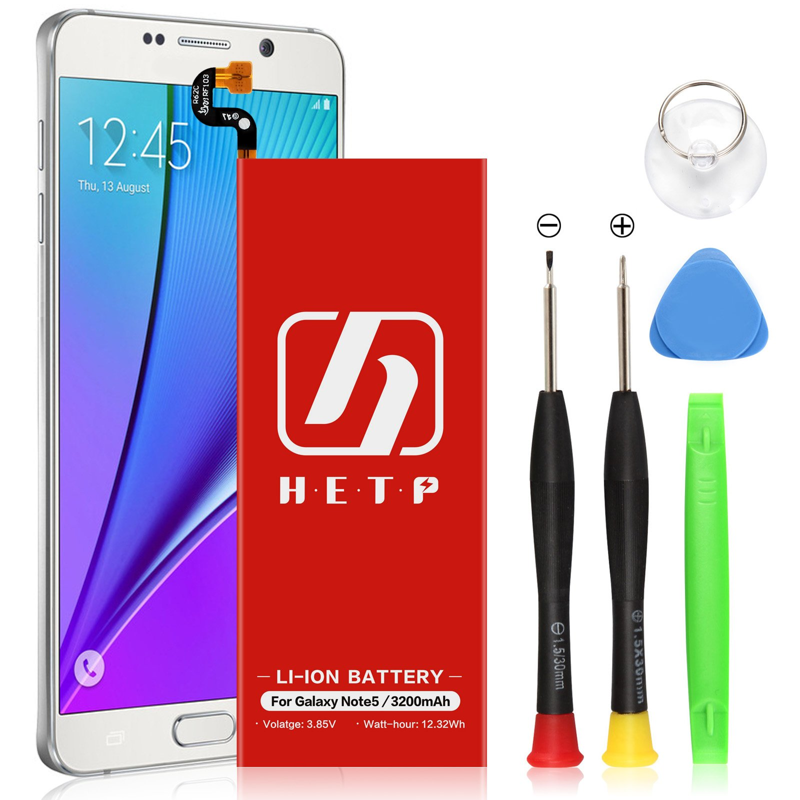 Note 5 Battery 3200mAh HETP UPGRADED Internal Li-ion Polymer Replacement Battery for Samsung Galaxy Note 5 SM-N920 N920T N920A N920P N920V with Free Screwdriver Tool
