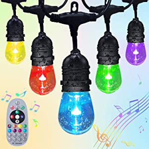 Fmix Outdoor String Lights,24FTS RGB Lights Weatherproof Shatterproof Music Auto Flash Color Changing Strand Connectable Remote Control Hanging Light for Patio Cafe Balcony Garden (24)