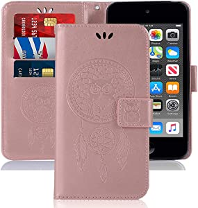 Sidande iPod Touch 7th Generation Case, iPod Touch 6 Case, [Wrist Strap] Owl PU Leather Wallet Flip Protective Case Cover with Card Slots for Apple iPod Touch 5/6 / 7 (Rose Gold)