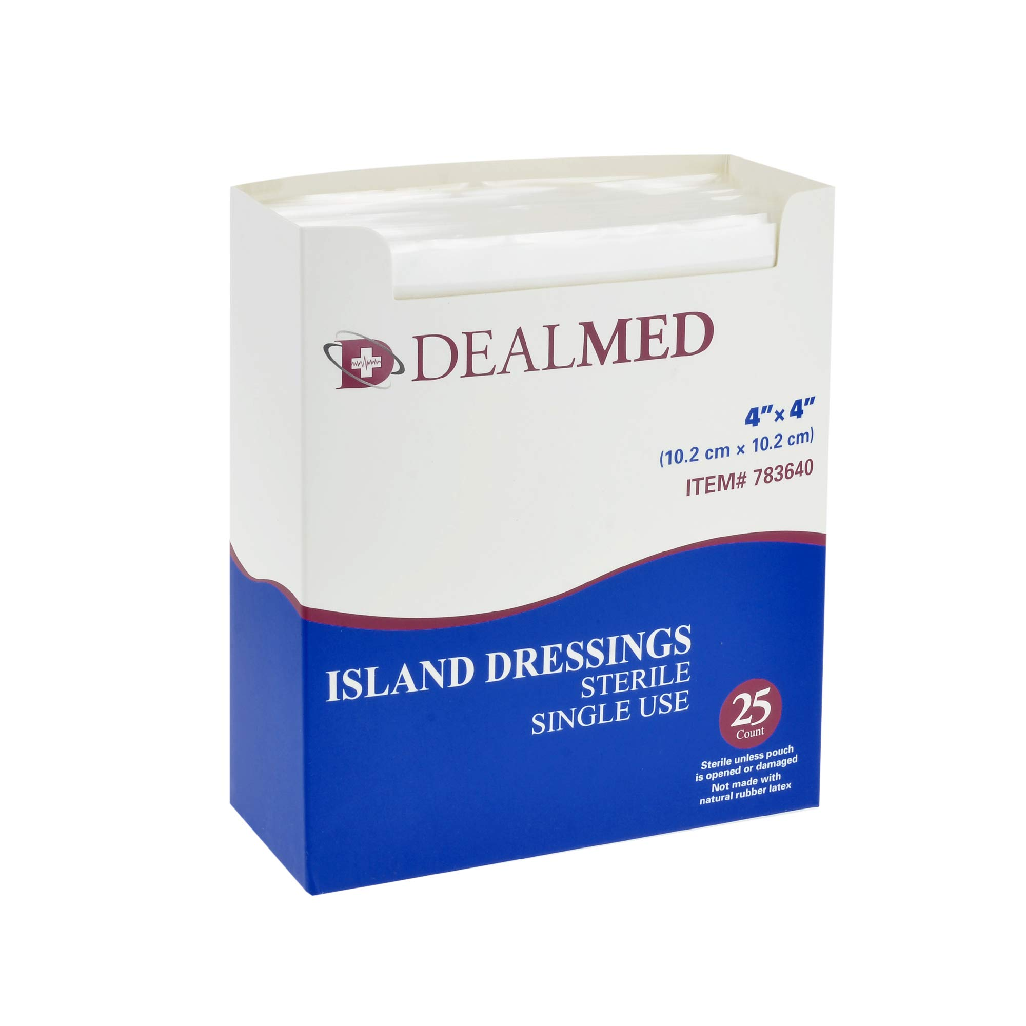 Dealmed Sterile Bordered Gauze Island Dressings, Non-Stick, Latex-Free, 4'' x 4'', 25 count