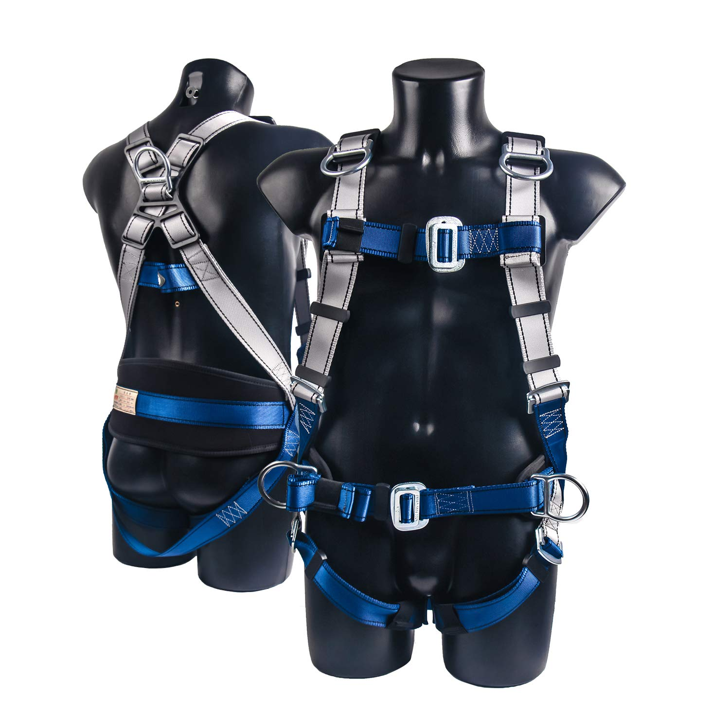 JINGYAT 5 D-Ring Full Body Safety Harness Fall Protection,Universal Personal Protective Equipment (130-310 pound),Construction Industrial Tower Roofing Tool by JINGYAT