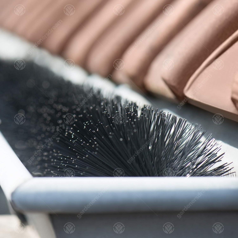 28m // 91ft, Black GardenersDream Gutter Guard Brush Black//White Downpipe Drain Filter Protection