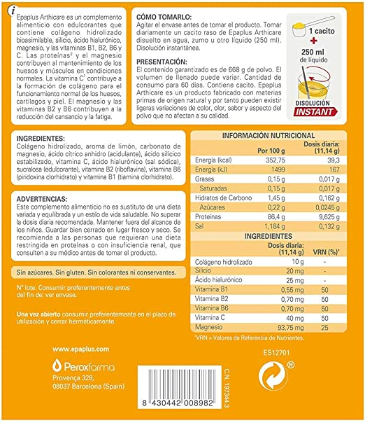 Epaplus Articulaciones Colágeno + Silicio + Ácido Hialurónico ...