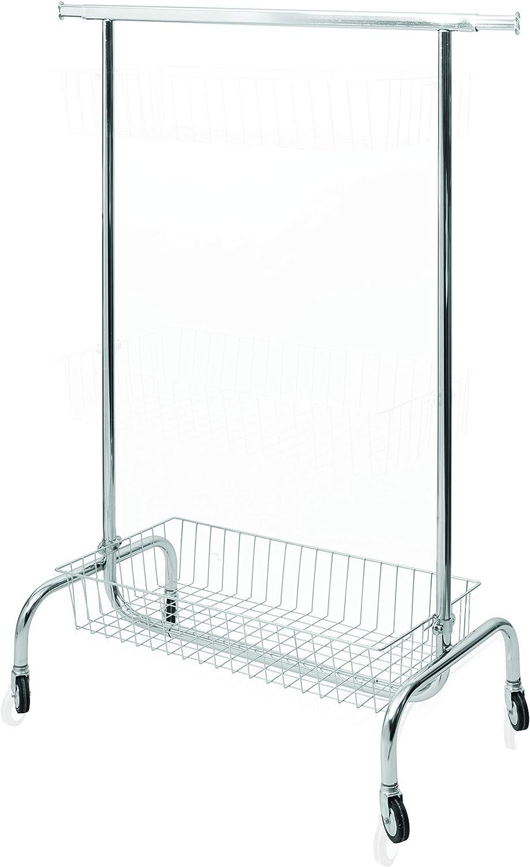Perchero de barra con ruedas de hierro cromado, para tiendas, guardarropa, vestidores, habitaciones
