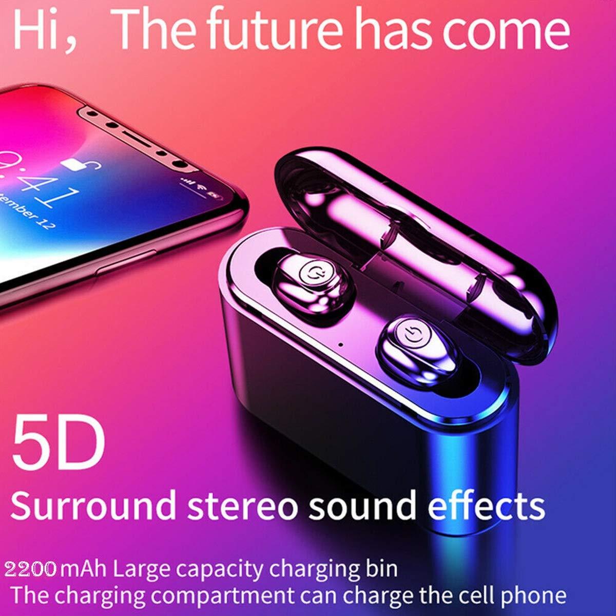 PeiXuan2019 Bluetooth 5.0 TWS Mini Auriculares IPX6 Auriculares Ocultos en la Oreja Verdaderos Auriculares inal/ámbricos con Caja de Carga