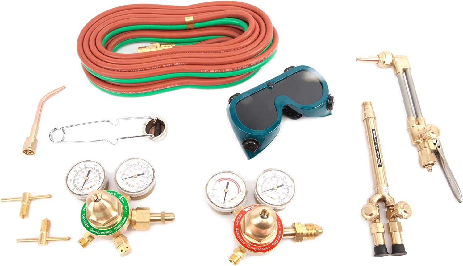 Hose Oxygen Acetylene Cutting Torch Full Kit with Cart Gauges Goggles,/& Torch