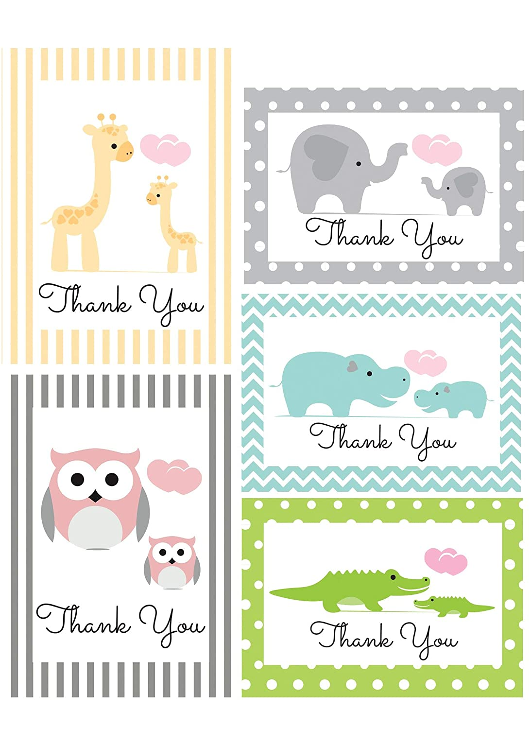 Amazon.com: Thank You Cards for Baby, Shower, Kids - Jungle Animal Safari -  Assorted Bulk, 50 Note Card Boxed Set, Blank Inside with White Envelopes -  Made ...