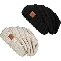 6c39cf0d7fb FunkyJunque Trendy Warm Oversized Chunky Soft Oversized Cable Knit Slouchy  Beanie