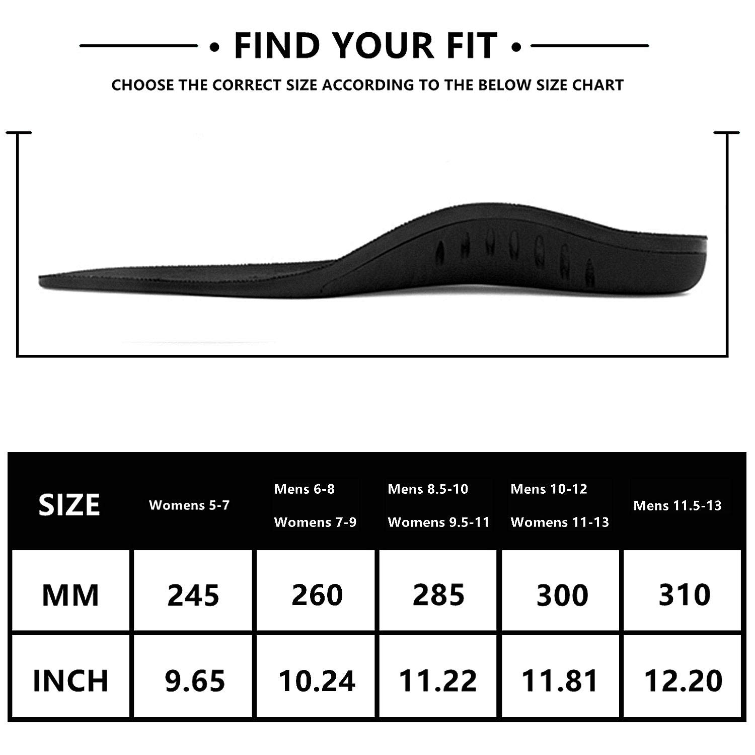 Hyperspace Sports Insole for Gel High Arch Support Shoe Inserts Plantar Fasciitis Orthotic Inserts Maximum Comfort and Shock Absorption for Flat Feet and Injury Prevention (Black XL) by Hyperspace (Image #6)