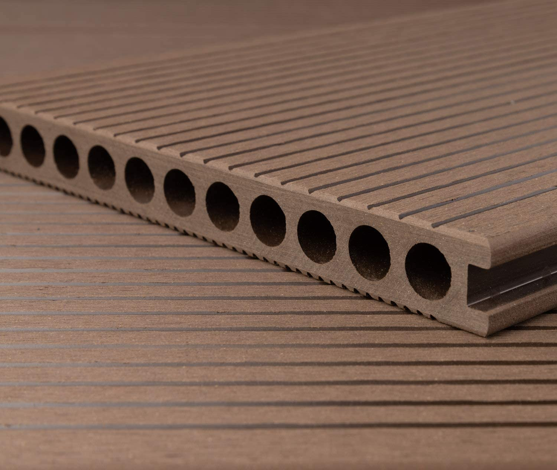 40x60 mm Unterkonstruktion /& Clips I Fl/äche HORI/® WPC-Terrassendiele Braun XXL Hohlkammer Diele I Komplettset inkl 5 m/² I 2,90 m Dielenl/änge