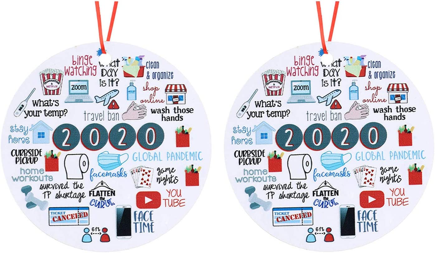 weispo 2PCS 2020 Christmas Ornament, Commemorative Ornament, 2020 A Year to Forget Ornament, Xmas Creative Round Ornament for Xmas Tree Ornament Hanging Accessories (B)