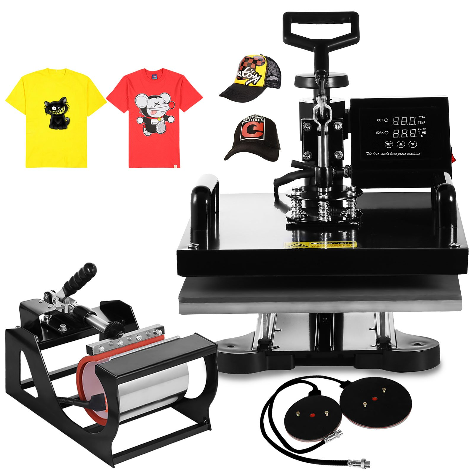 Happybuy 5 in 1 15'' X 15'' Heat Press 360 Degree Swing-away Heat Press Machine Multifunction Sublimation Combo T Shirt Press Machine for Mug Hat Plate Cap Mouse Pad (5 in 1 15'' X 15'') by Happybuy