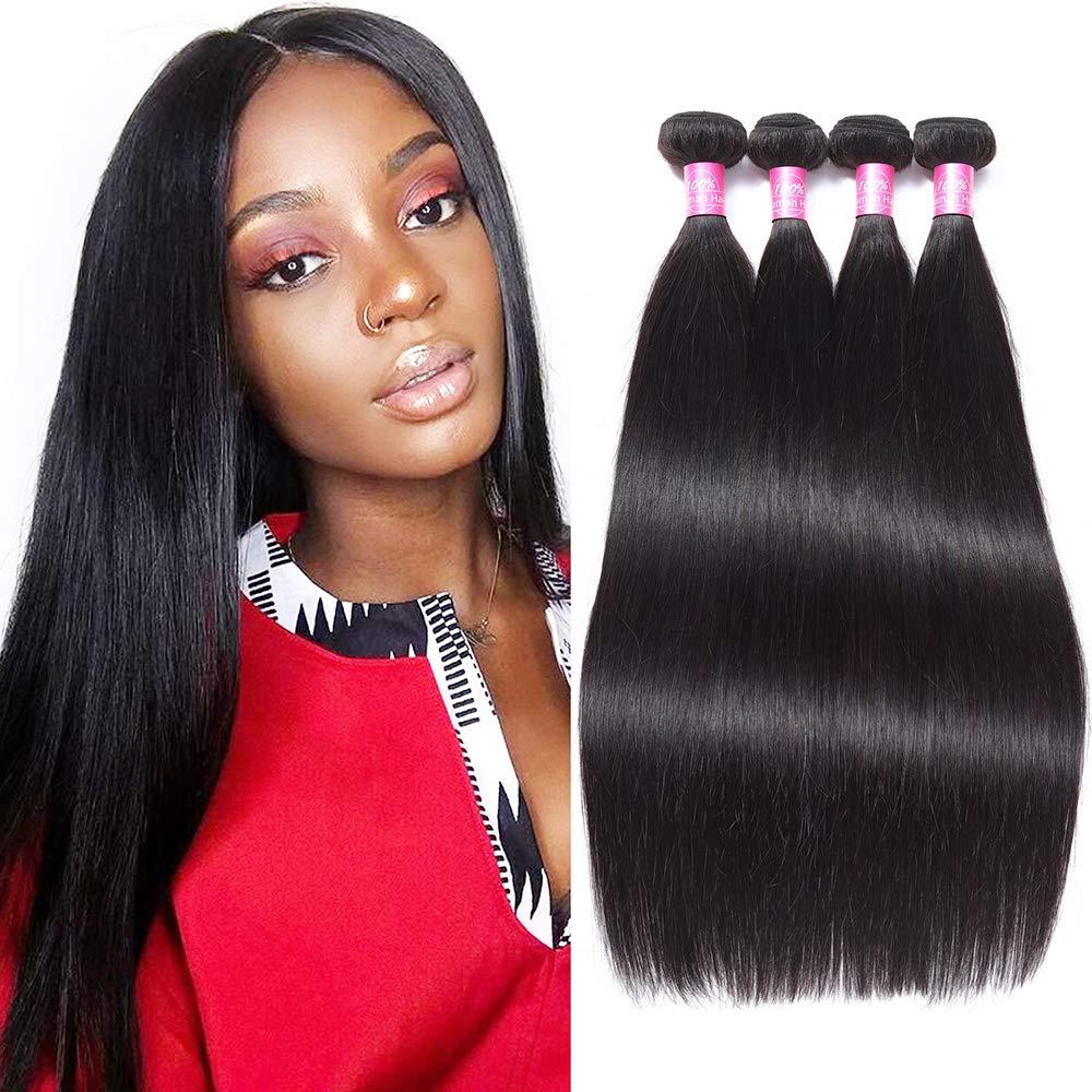 FQ Peruvian Straight Human Hair 4 Bundles 24 26 28 30 Unprocessed Peruvian Virgin Human Hair 4 Bundles 10A Straight Human Hair Weave Bundles Long Straight Hair 4 Bundle Deals Natural Black Color