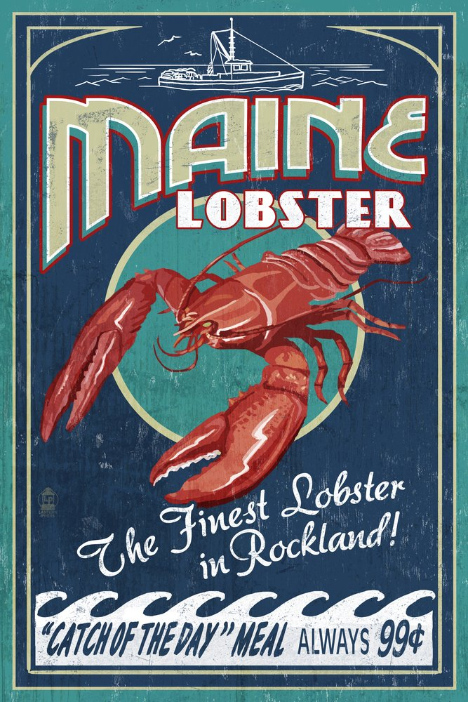 Rockland, Maine - Lobster Vintage Sign (9x12 Art Print, Wall Decor Travel Poster)