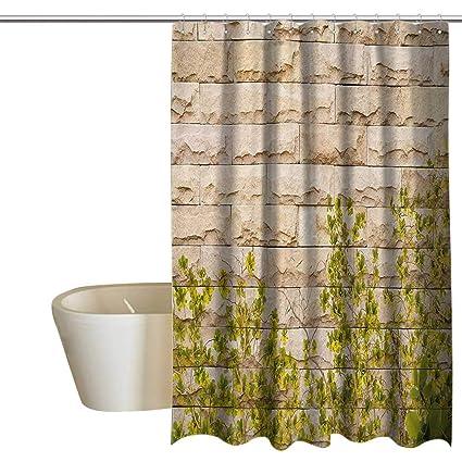 Anshesix Rustic Home Decor Funny Shower Curtain Ground Creepy Climbing Wood Ivy Plant Leaf On Brick