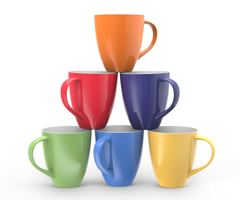 Francois et Mimi Large 16oz Ceramic Coffee Mugs, Solid Colorful, Set of 6