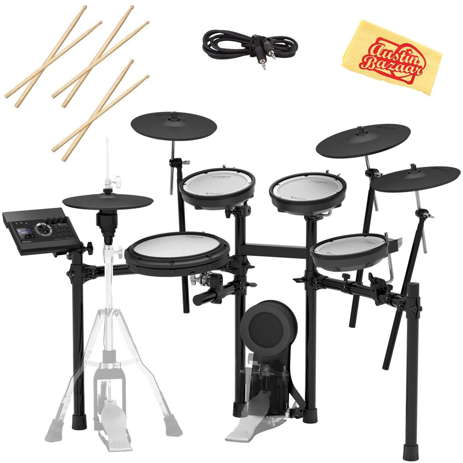 Roland TD-17KVX Electronic Drum Set Bundle with 3 Pairs of Sticks, Audio Cable, and Austin Bazaar Polishing Cloth by Roland