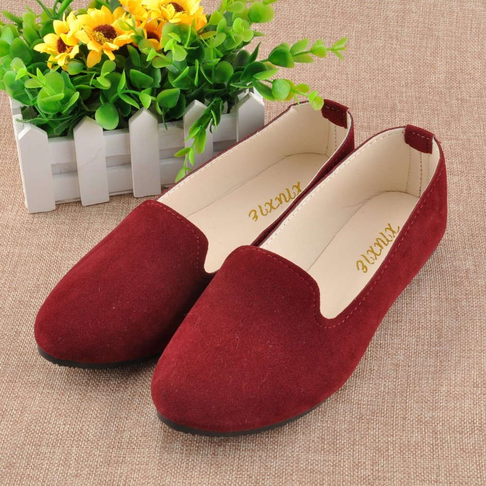 JOY DRAGON Women Ballet Light Faux Suede Low Heels Flats Candy Color Spring Summer Loafers Shoes Size 5-8