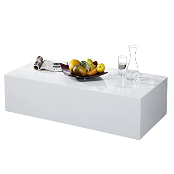 Wunderbar Design Couchtisch MONOBLOC XL 100cm Hochglanz Weiss
