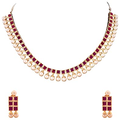 de0a965847611 Buy Ratnavali Jewels American Diamond Cz Red Ruby Pearls Gold Plated ...